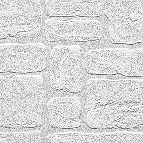 Manhattan comfort NW48915 Andrew Series Vinyl Textured Paintable Bricks Design Large Wallpaper Roll, 21