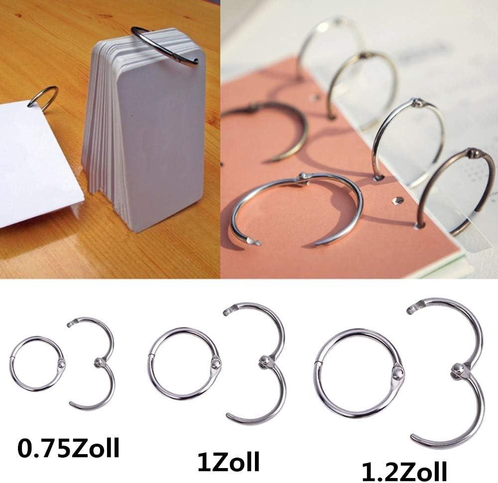 1 pollice e 1,2 pollici di diametro 100 anelli piece connettore anello a fogli book metal Bookbinder anelli portachiavi portachiavi legante per il documento album dellalbum mestiere 0,75 pollici
