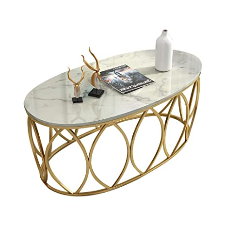 Yike Coffee Table Wrought Iron Coffee Table Oval White Marble