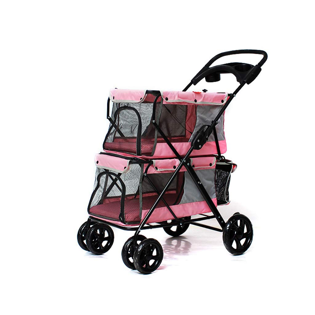 B Jlxl Pet Stroller Dog Double Layer Car Light And Easy To Carry Sunscreen Breathable Comfort Daily Necessities (color   B)