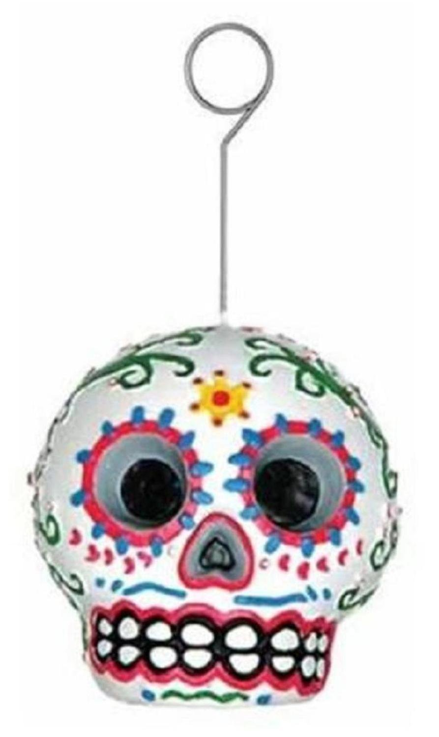 Pack of 6 Day of the Dead Skull Balloon and Photo Holder Party Decorations