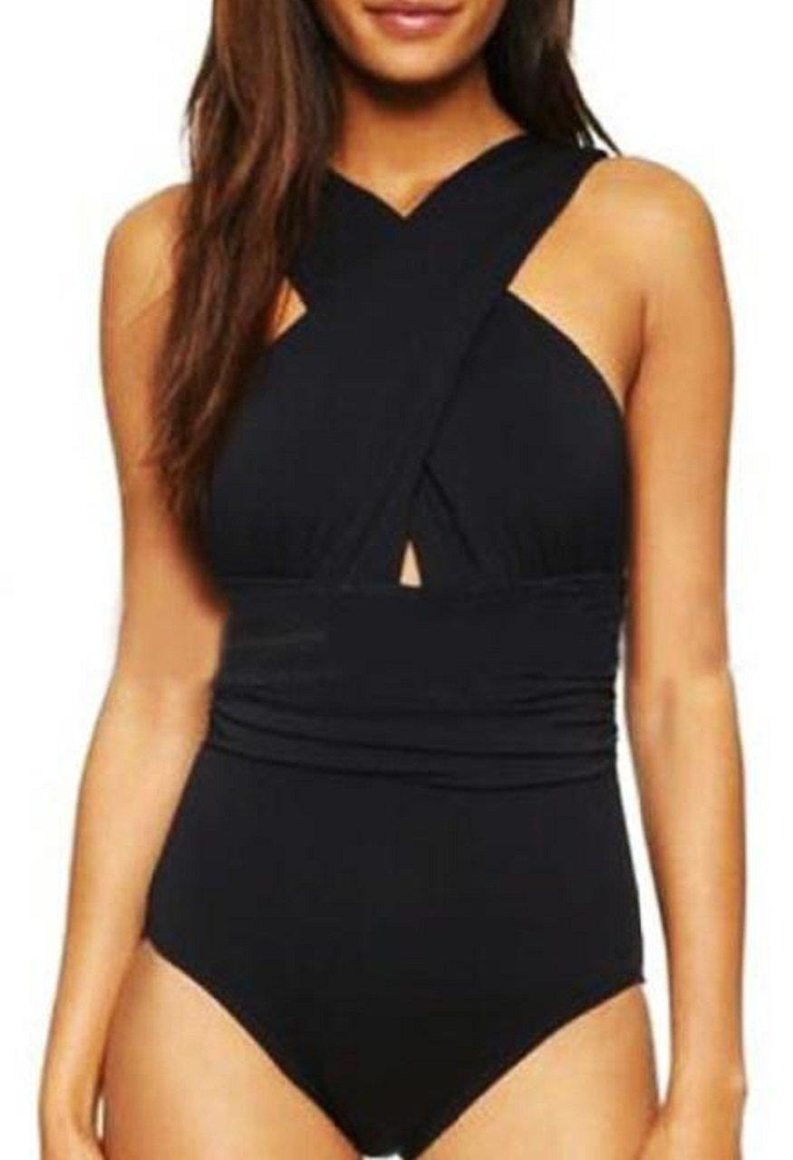 Lapiness Women's Bathing Suit Front Criss Cross One Piece Swimsuit (Black, X-Large)