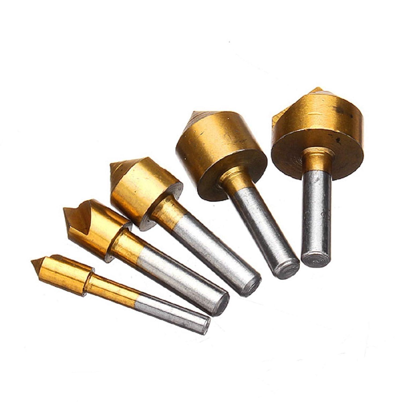 Juego de 5 brocas de titanio para avellanar de 6 mm, 10 mm, 13 mm, 16 mm, 19 mm, para madera, metal de cambio rá pido, brocas metal de cambio rápido HOEN