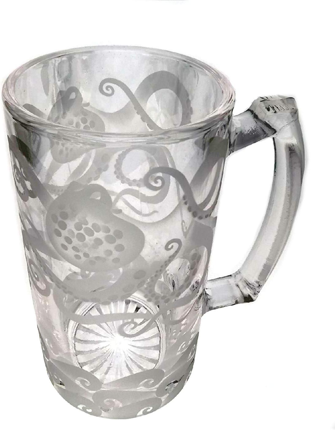 IncisoArt Hand Etched Glass Coffee Mug Permanent Sandblasted Sand Carve Engraved
