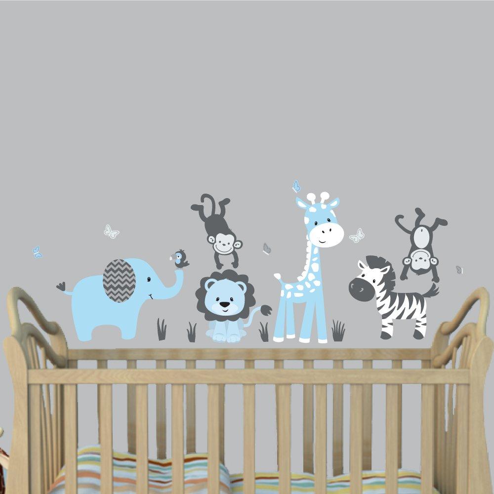 Amazon Mini Baby Blue Jungle Animal Wall Decals Jungle