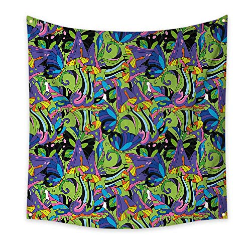 (Mushroom Tapestry Groovy Trippy Mixed Colors Toadstool Fungus Plants Natural Swirls Butterflies Cool Tapestry Multicolor 32W x 32L Inch )