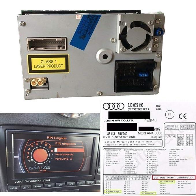 Swoo Car AUX Cable RNS-E AUX 3.5/mm Jack 32/Pin Conector 8J0/035/475/Compatible para Audi