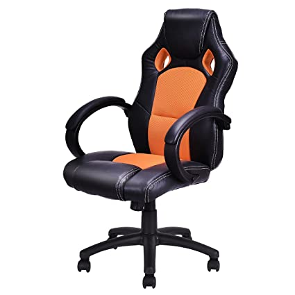 Giantex High Back Race Car Style Bucket Seat Office Desk Chair Gaming Chair (Orange)  sc 1 st  Amazon.com & Amazon.com: Giantex High Back Race Car Style Bucket Seat Office Desk ...