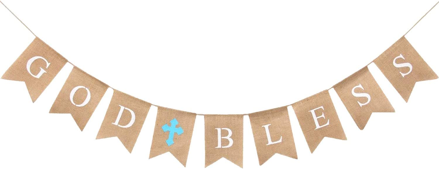 CHRORINE God Bless Banner Baptism Decorations for Boys, First Communion Confirmation Decorations, First Communion Baptism Party Supplies (Blue)