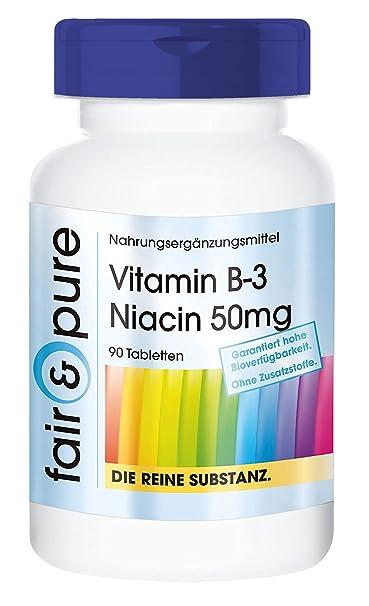 Vitamina B3 50 mg - Niacina - 90 comprimidos vegetarianas - Sustancia pura y sin aditivos: Amazon.es: Salud y cuidado personal