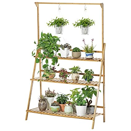 Unho 3 Tier Plant Shelf Stand Hanging Bamboo Plant Stand Display