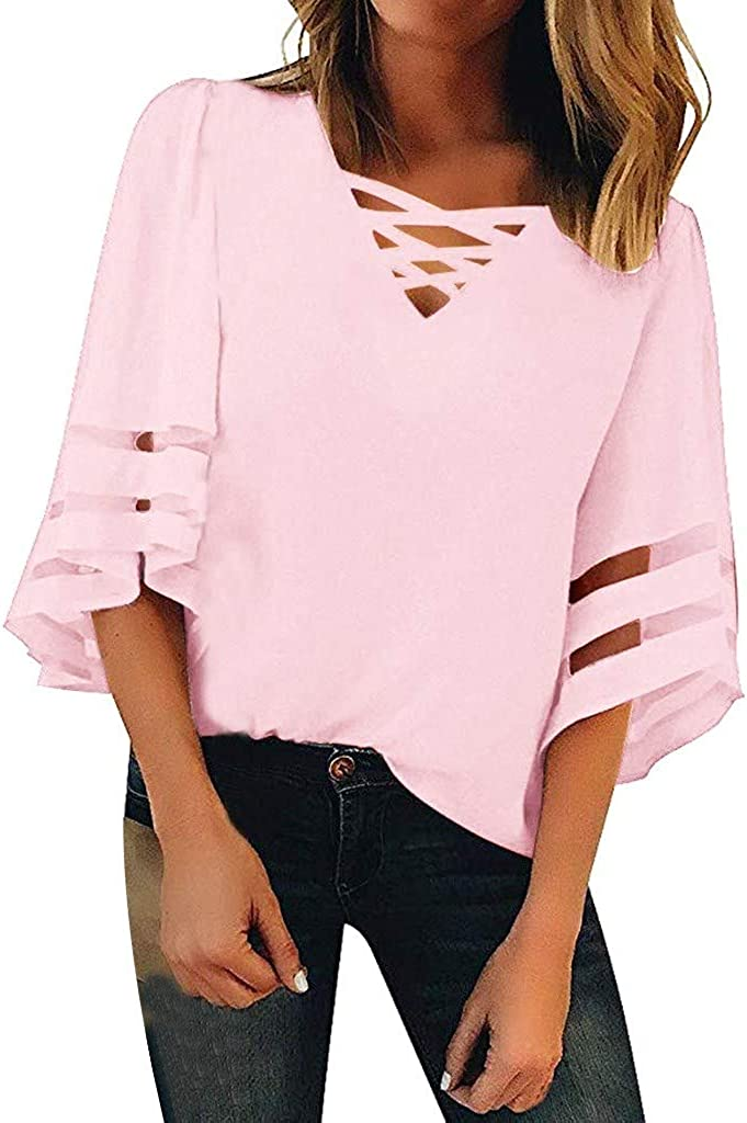 Blouses for Women Summer V Neck Mesh Panel Blouse 3//4 Bell Sleeve Casual Loose Tank Tops T-Shirt ODGear