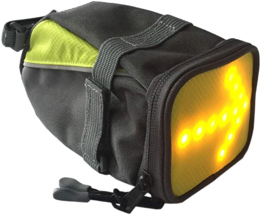 AK-BAG Bolsa De Bicicleta Bolso para Sillín con Indicador De Señal LED Inalámbrica Mando A Distancia, Alforjas Tija Sillín De Ciclismo Impermeable De Montar del Asiento De La Bicicleta del El Paquete