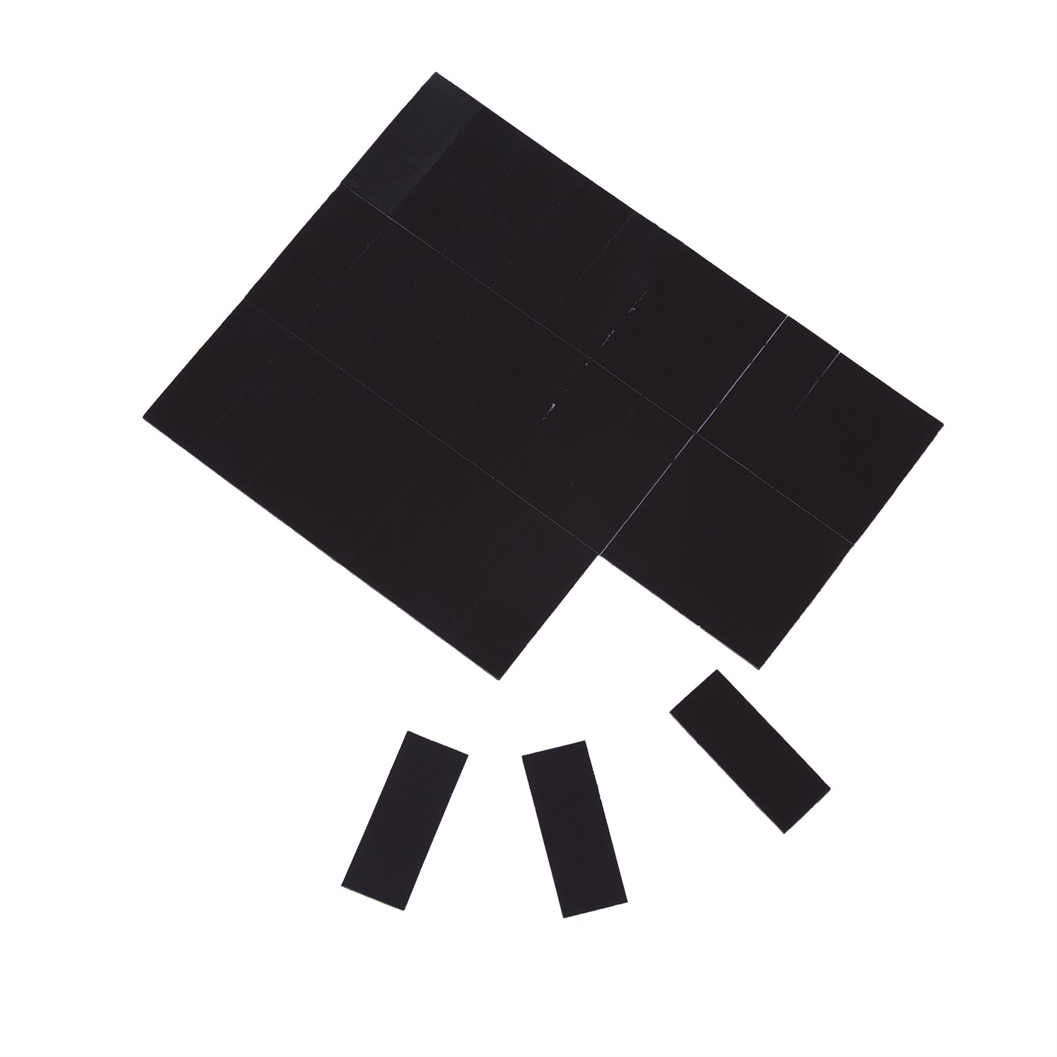Sadzero Flexible Magnet Rectangle 5cmx2cm(1.96''x0.78''),30 PCS of Each Paper, Thickness 1mm Adhesive Agnete with Extra Strong Adhesive Force-Black for Use in Refrigerator Door Seals,Etc.