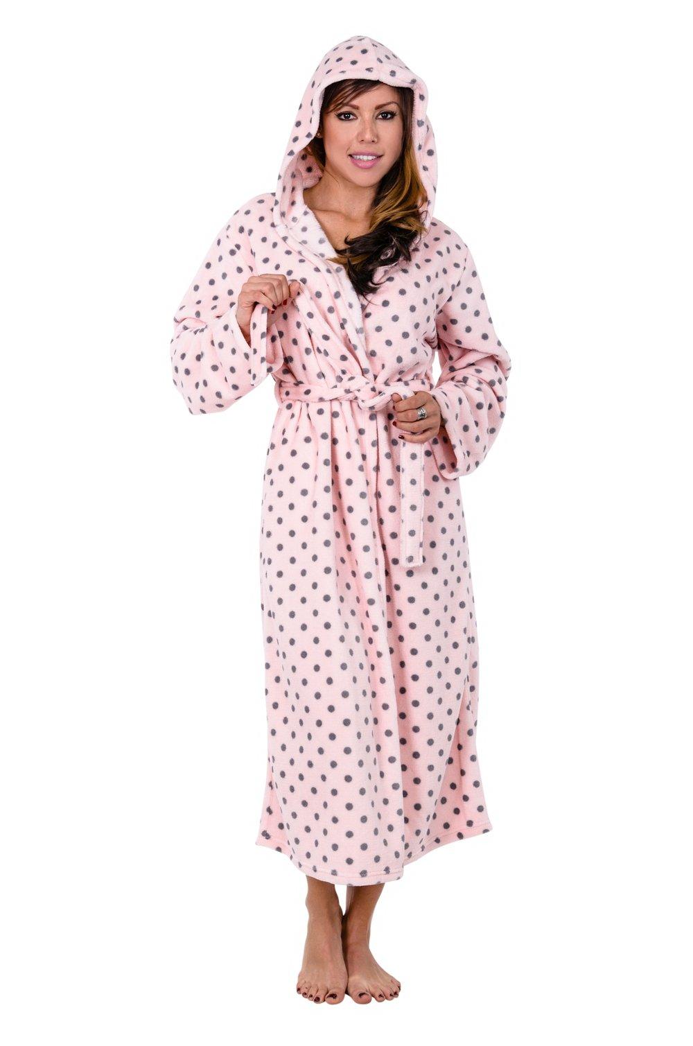 Hoodie Robe Hooded Robe Spa Bathrobe Hoody Robe Long Robe … (Large, Pink Polka Dot) by Love This Robe (Image #2)