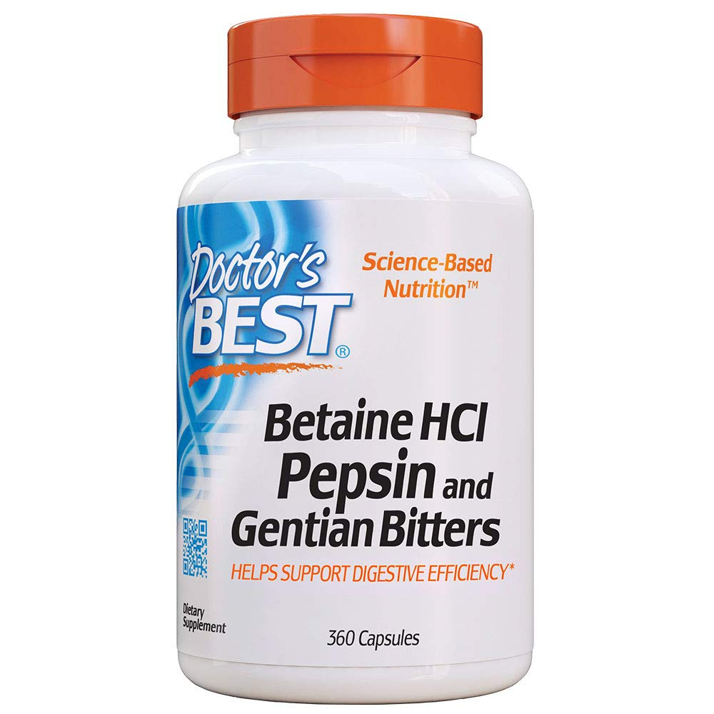Doctor's Best Betaine HCI Pepsin & Gentian Bitters, Non-GMO, Gluten Free, Digestion Support, 360 Caps by Doctor's Best