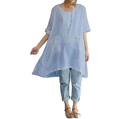 TIFENNY Hot Women Plus Size Irregular Fashion Loose Linen Short Sleeved Blouse Vintage Tops (S