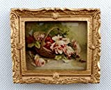 Melody Jane Dolls House Basket Roses Picture Painting Gold Frame Miniature Accessory