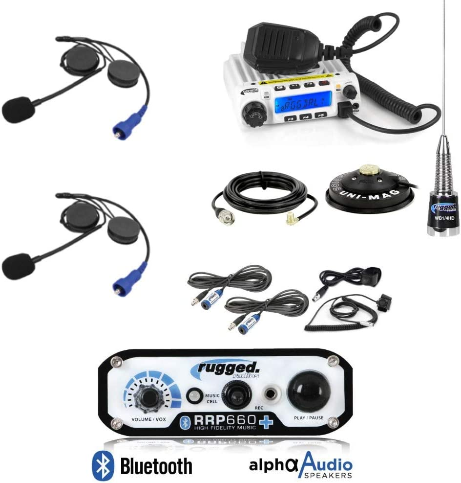 Intercom Cables Push to Talk Cables Antenna and Antenna Mount Rugged Radios RRP660 Intercom and RM60 60 Watt VHF Two Way Mobile Radio 2 Place Race System Kit with 2 Person Internal Helmet Kits