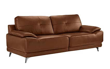Divano Roma Furniture - Modern Living Room Leather Sofa (Camel)