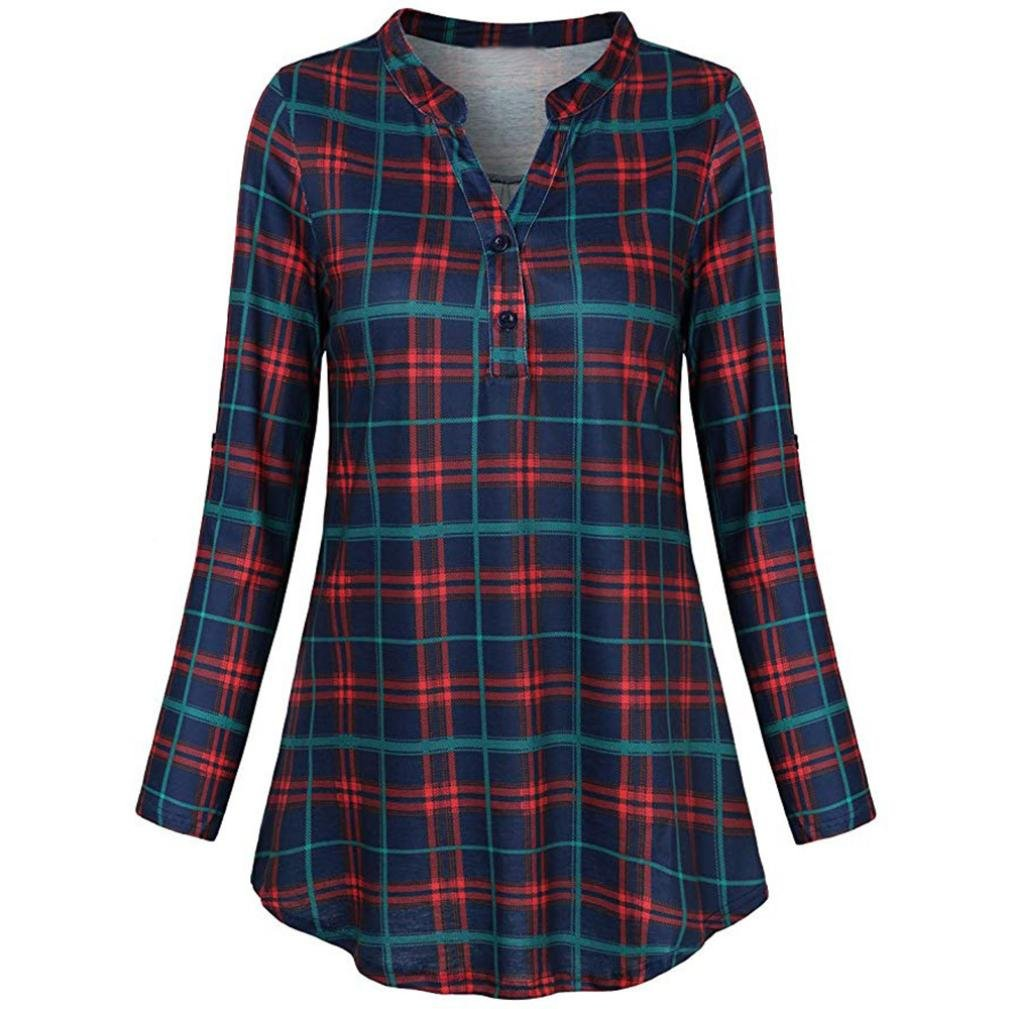 Orangeskycn Blouses For Women Casual V Neck Roll-Up Sleeve Plaid Tunic Tops Ladies Shirt