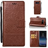 Galaxy Note 4 Case, ESSTORE Retro Elephant Embossing PU Leather Protective Covers with Card Slot Holder Wallet Case for Samsung Galaxy Note 4, Brown