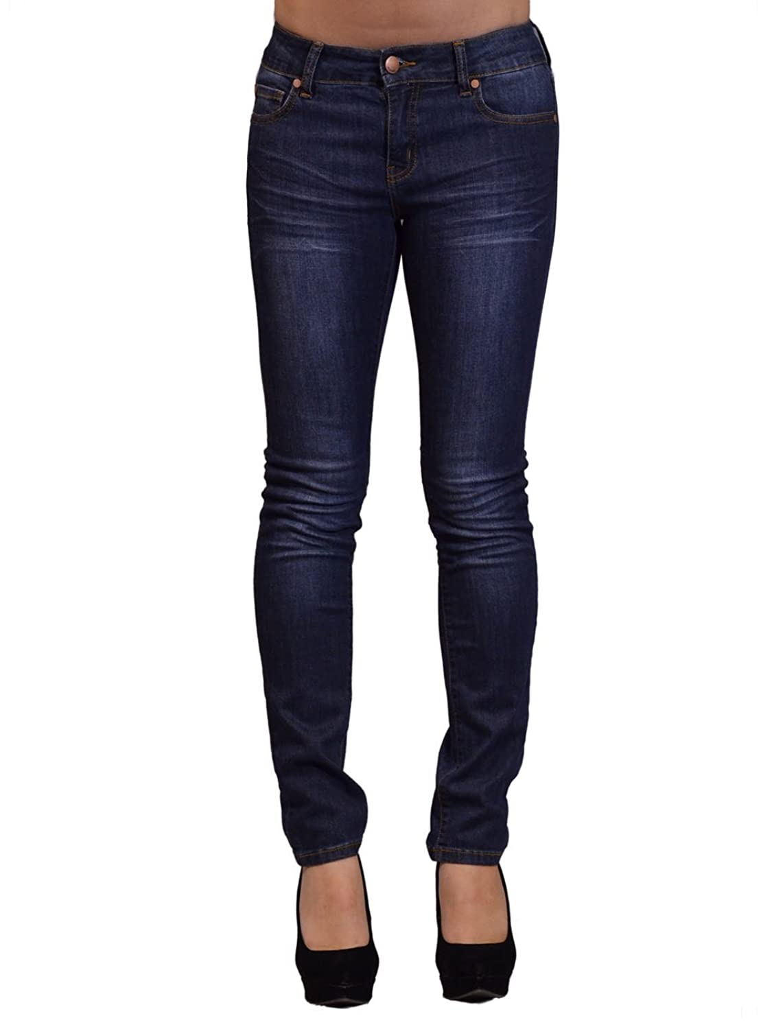 MonoB Casual Dark Washed High Waist Skinny Denim Jean Pants