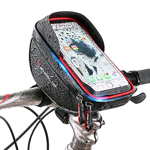 Bike phone mount bag, Wallfire Bicycle Frame Bike Handlebar Bags with Waterproof Touch Screen Phone Case for iPhone 7 6s 6 plus 5s 5 / Samsung Galaxy s7 s6 note 7 Cellphone Below 6.0 Inch + Rain Cover