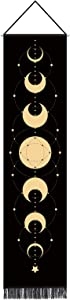Moon Phase Tapestry Wall Hanging Home Decor Moon Phase Wall Art Room Decor Black Tapestry Seven Phases Of The Full Growth Cycle Moon Wall Tapestry For Bedroom Moon Constellations 12.8 x 51.2 Inch