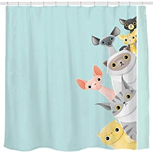Sunlit Cute Striped Shorthair Peekaboo Cats Cartoon Shower Curtain for Kids Cat Lover,Funny Curious Kitten Pussy Fabric Bathroom Decor Set, Turquoise Aqua Blue, PVC-Free Odorless.