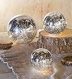 Wind & Weather LT7407-SL Glass Ball Lights, Set of 3, Silver