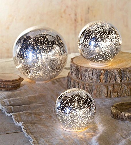 Soft Yellow Glass Ball Ornaments - Silver Glass Ball Lights, Set of 3