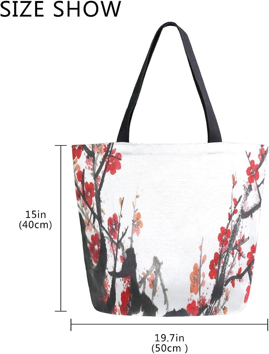 Woman Tote Bag Shoulder Handbag Classical China Plum Blossom for Work Travel Business Beach Shopping School