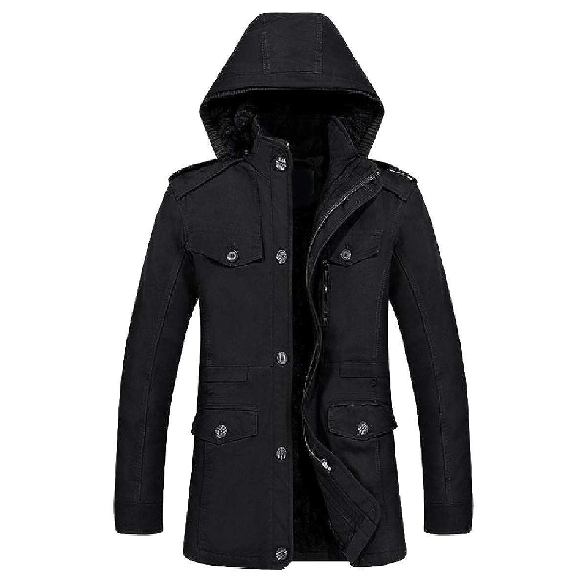 YUNY Mens Warm Cotton Winter Hooded Oversized Parka Coats Jackets Black 4XL