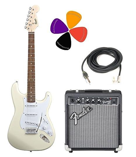 Fender Squier Bullet espaciado con trémolo Arctic White Pack