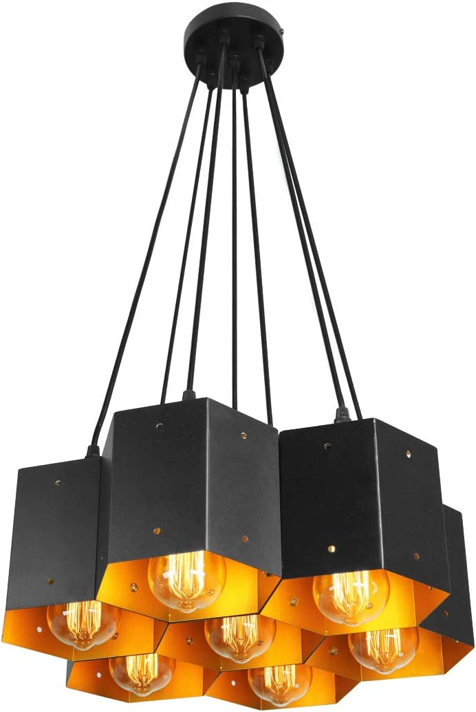 Unitary Brand Modern Black Metal Cellular Modeling Dining Room Large Pendant Lighting with 7 E26 Bulb Sockets 280W Painted Finish