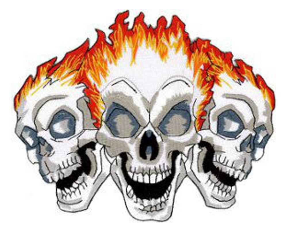 Trois crânes Flame brodé Patch arrière 20cm X 16.5cm