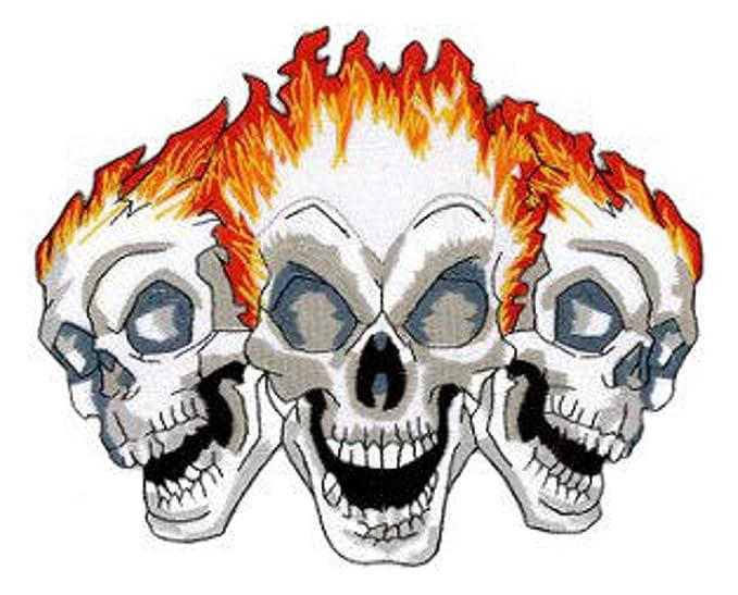Amazoncom Three Skulls Flame Embroidered Patch 12 X 10cm 4 34 X