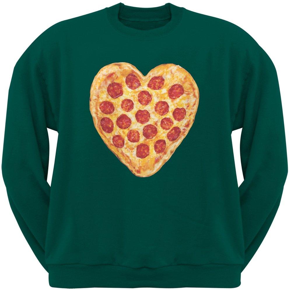 Old Glory Pizza Heart Dark Green Adult Crew Neck Sweatshirt