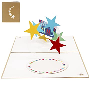Amazon allrise 3d pop up greeting card happy birthday star allrise 3d pop up greeting card happy birthday star rainbow birthday invitation card stopboris Image collections