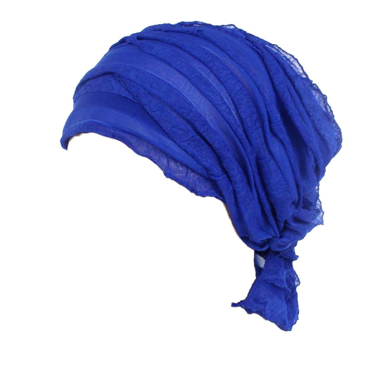 Ever Fairy 3 Farben Packung Chemotherapie Krebs Kopf Schal Hut Kappe ethnisch Stoff Aufdruck Turban Kopfbedeckung Damen Damen Rüsche Beanie Schal SFC17428GAOWENYUE