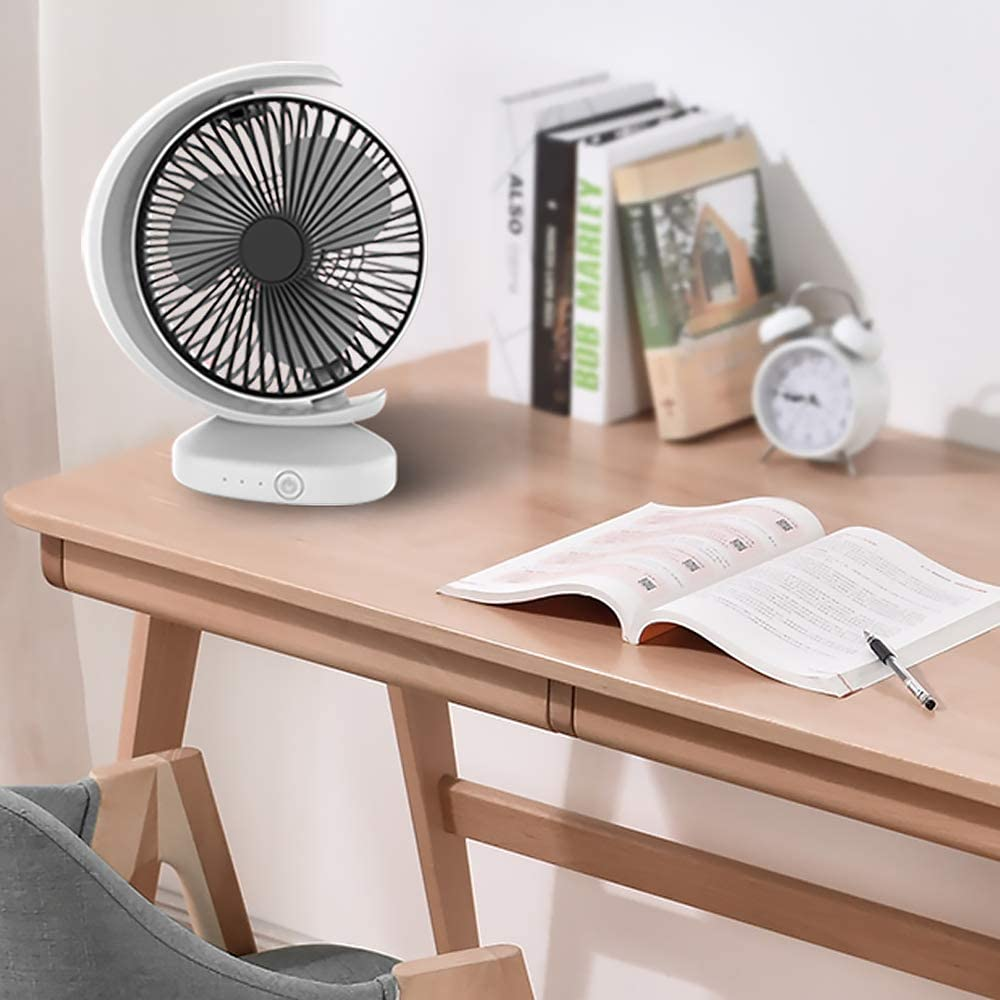 ornerx Rechargeable USB Cooling Desk Fan Crescent