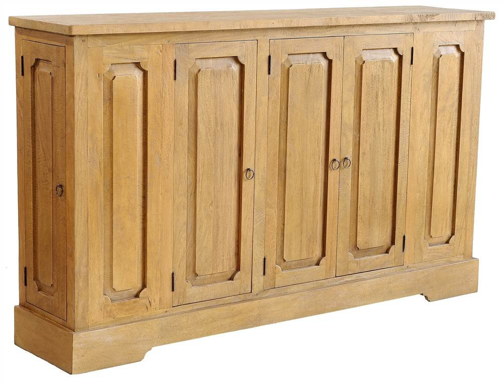 Casual Elements Rustic Buffet in Natural Finish - Both ends of the buffet have doors and shelves Hand crafted Solid brass pulls - sideboards-buffets, kitchen-dining-room-furniture, kitchen-dining-room - 61vtCpb7bHL -