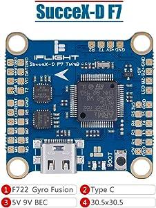 iFlight SucceX-D F7 TwinG Dual ICM20689 Flight Controller F7 FC Built-in OSD BEC Current Sensor Black Box for DJI FPV Air Unit (HD Version)