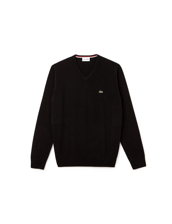 94c37472aa Lacoste Mens 2018 AH0844 V-Neck Wool Jersey Sweater: Amazon.co.uk ...