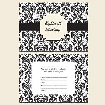 18th Birthday Invitations Postcard-Girls-Black & White Flower ...