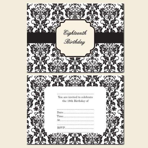 18th Birthday Invitations PostcardGirlsBlack White Flower – 18th Birthday Party Invites
