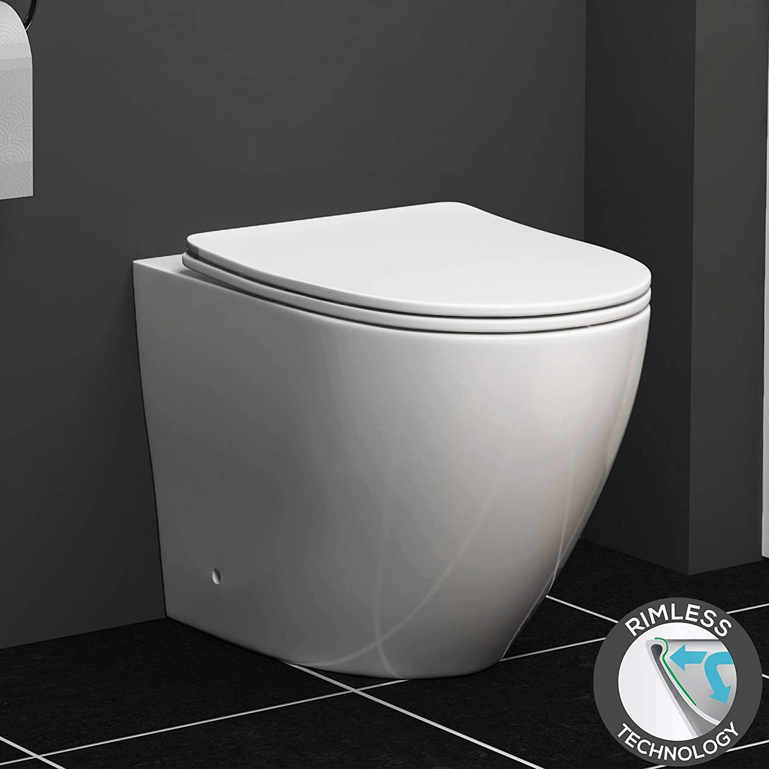 Modern Rimless BTW Back to Wall Pan with Soft Close Slim Seat + Cistern