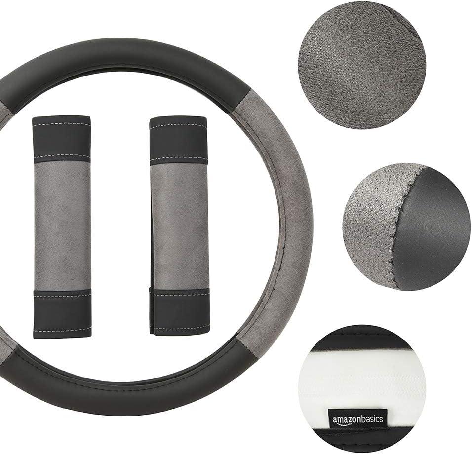 38.1 cm 15/″ Black and Blue Basics Leatherette Steering Wheel Cover