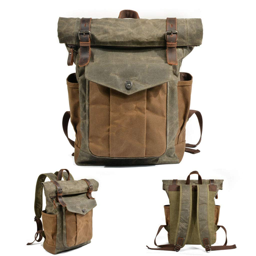 Muchuan Thicken Waterproof Retro Backpack Shoulder Bag Oil Wax Canvas Travel Computer Bag Outdoor Mountaineering Bag Color : Green, Size : 301143cm